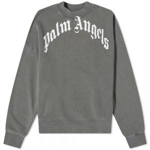 Palm Angels Garment Dyed Curved Logo Crew Sweat